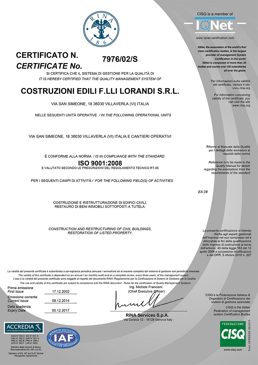 Certificazione RINA 2014
