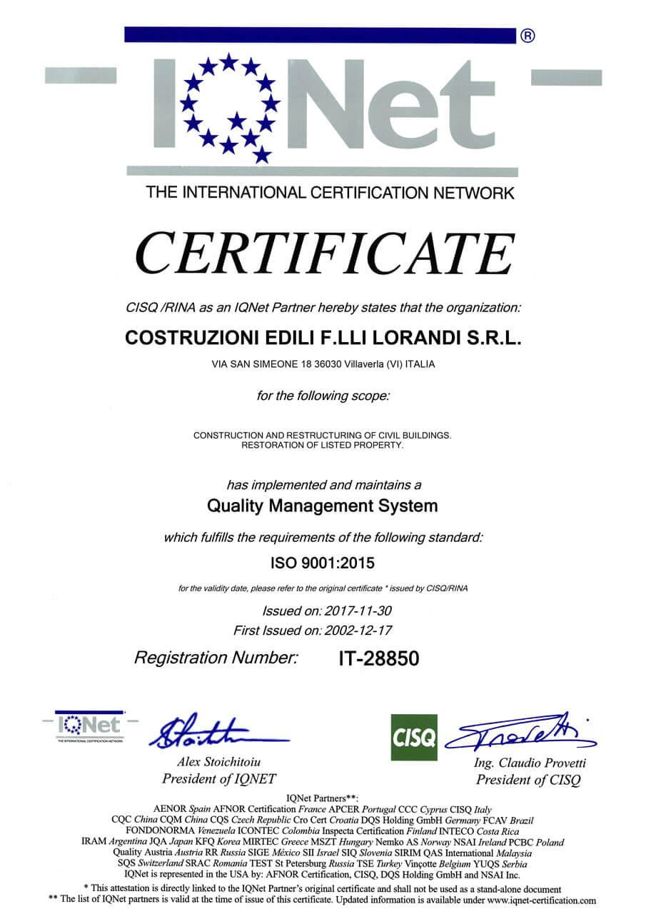 Certificazione Iqnet OK